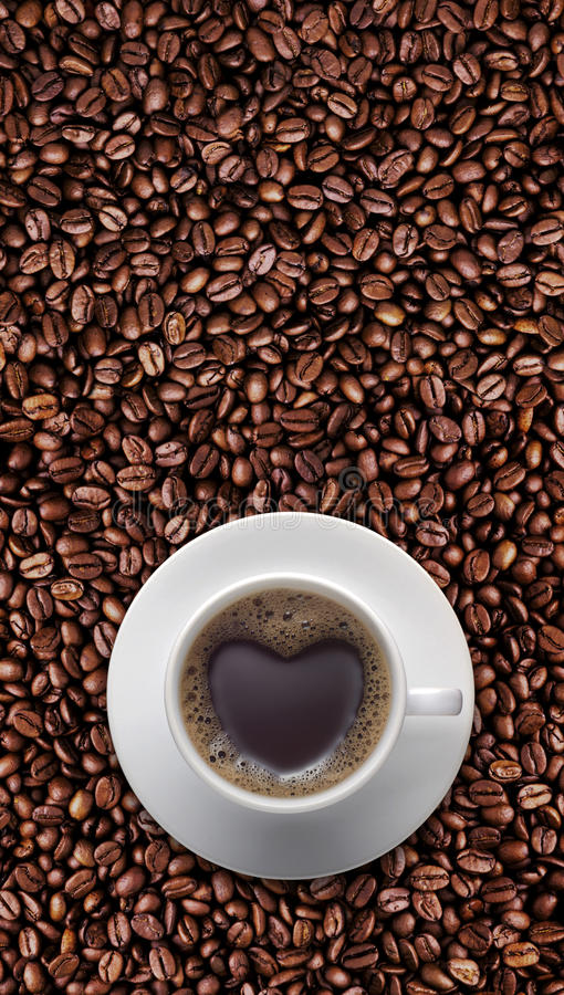 Black Coffee Cup Of Love With Heart Shape On Coffee Bean Stock Image