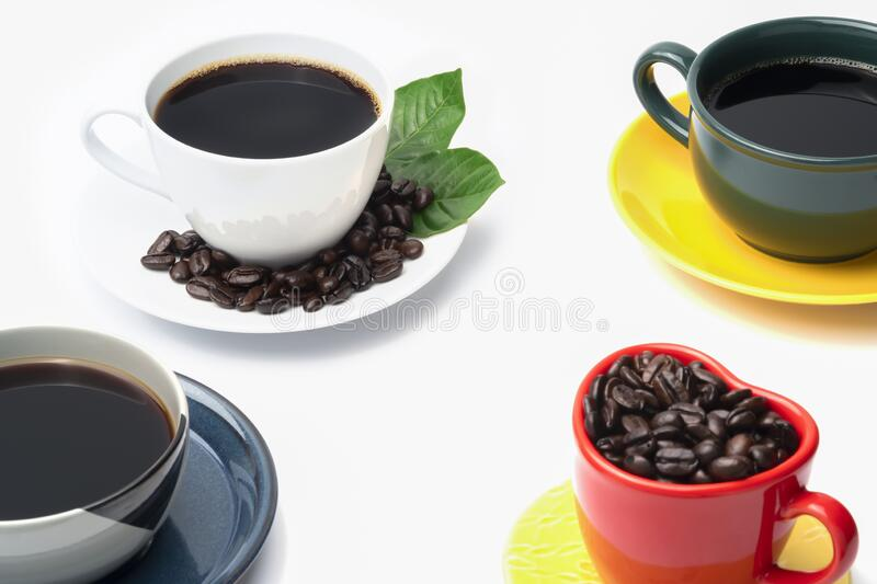 Black coffee in the coffee cup on white background, still life colorful group of the coffee mug. With green, yellow, dark blue, red, many abstract patterns stock photography