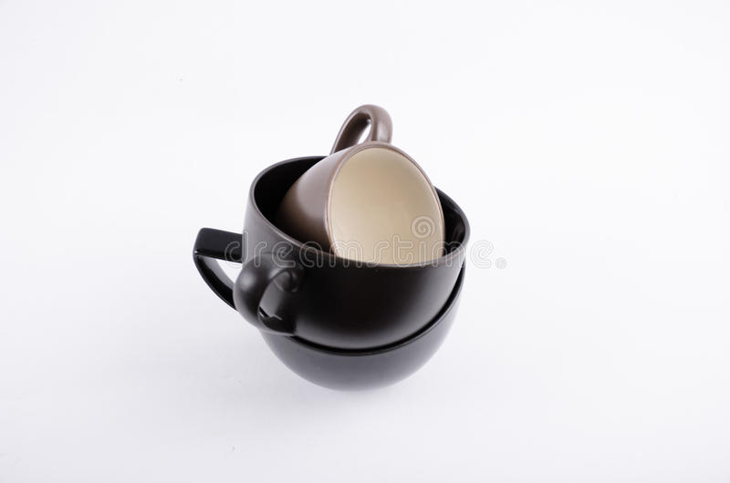 Black coffee cup on white royalty free stock image