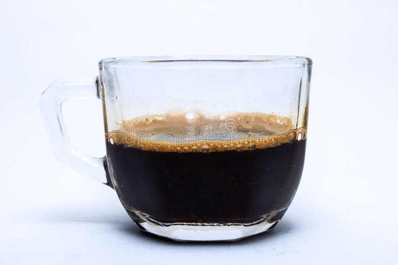 Black coffee in glass cup royalty free stock photos