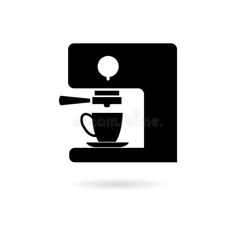 Black Coffee maker icon or logo. On white vector illustration