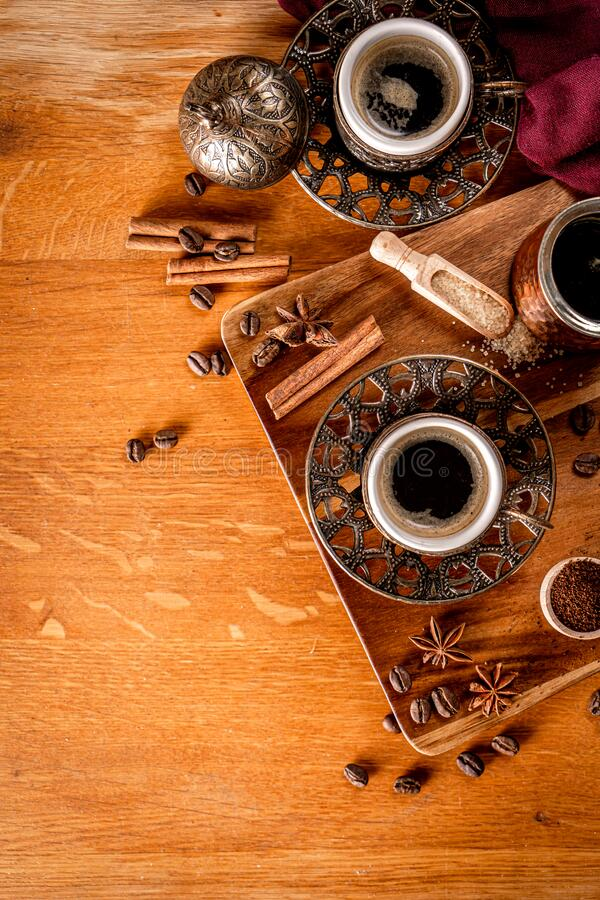 Black coffee on a natural wood background royalty free stock photos