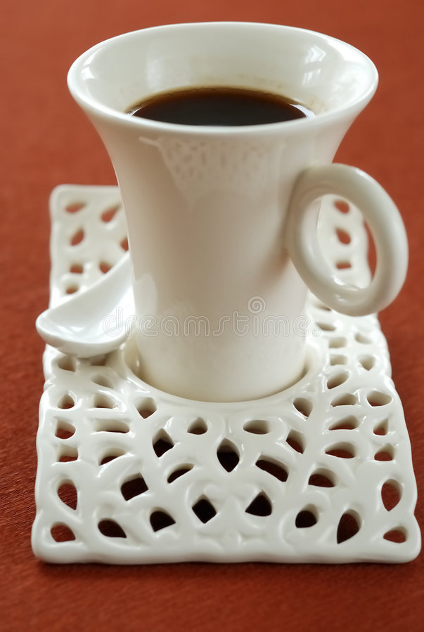 Black coffee in stylish cup stock photos