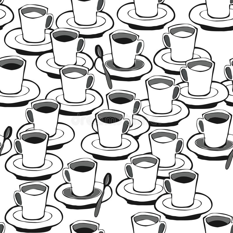 Download Black Coffee White Coffee Seamless Pattern Stock Vector - Image: 28023345