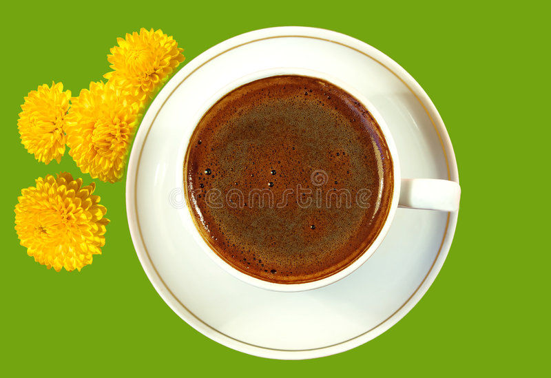 Black coffee in the white cup royalty free stock photography