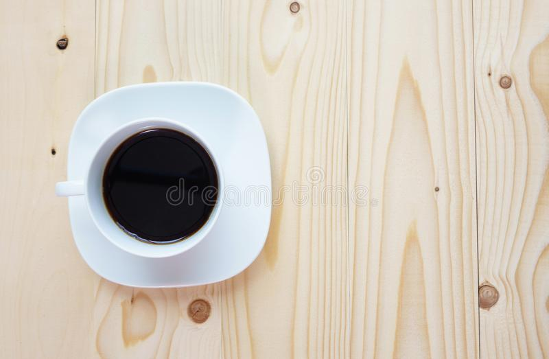 Black Coffee on the wood royalty free stock images