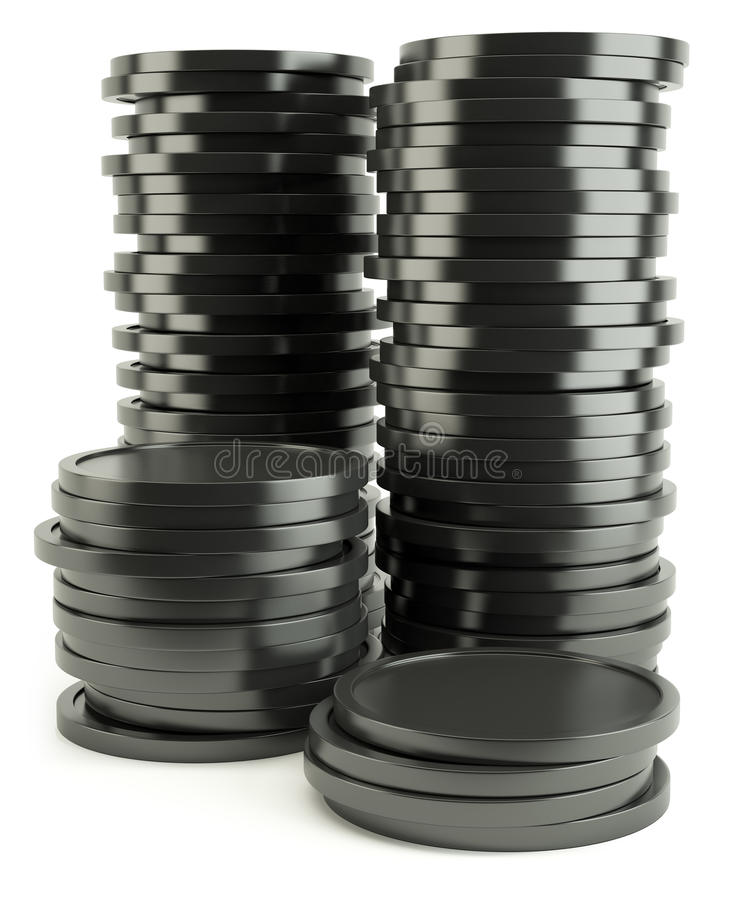 Black coin. Isolated on white background royalty free illustration