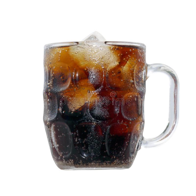 Black cola soda in glass with ice cubes for refreshments feel, beverage cola and cubes ice refreshing cool in glass isolated stock image