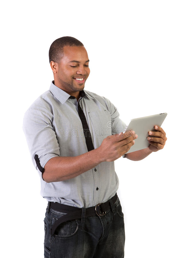 Black College Student Holding Touch Pad Stock Photography