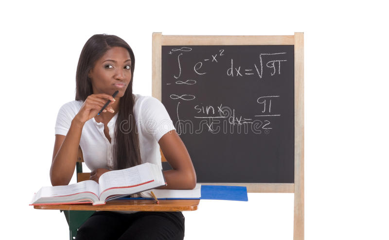 Download Black College Student Woman Studying Math Exam Stock Image - Image: 12331577