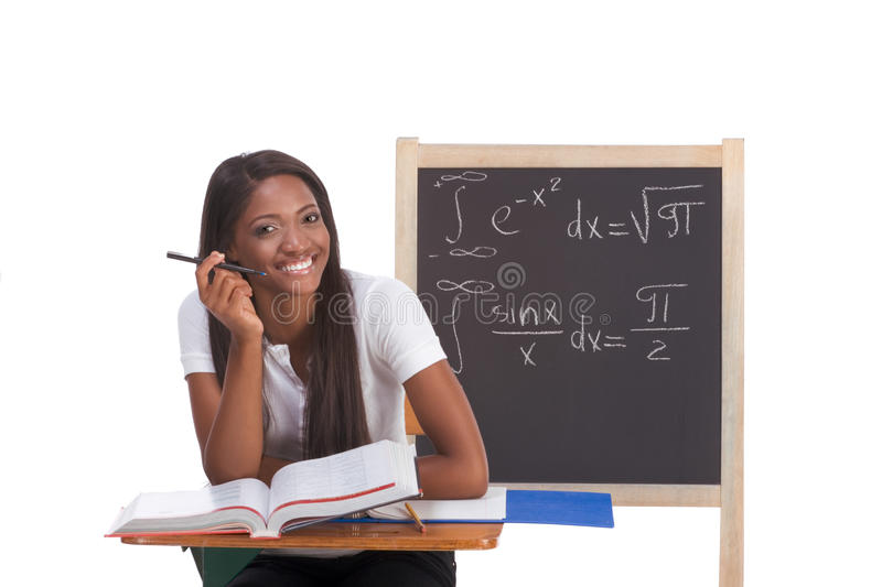 Download Black College Student Woman Studying Math Exam Stock Photo - Image of calculus, background: 12340198