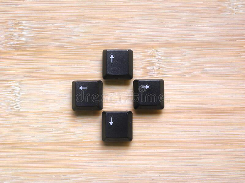 Arrow keys. Black color Arrow keys of computer keyboard stock images