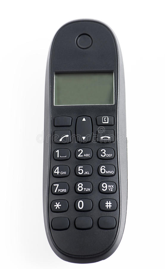 Black color cordless phone on white background royalty free stock images