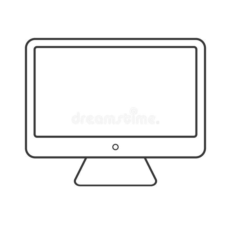 Black color desktop Computer outline icon vector eps10. screen outline desctop computer on white background. stock illustration