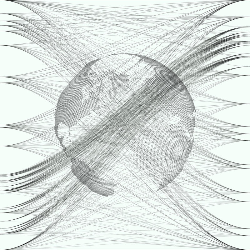 Black color dotted world globe with abstract waves and lines on white background. Motion design. Gray chaotic, random. Messy curves, swirl. Vector decoration vector illustration