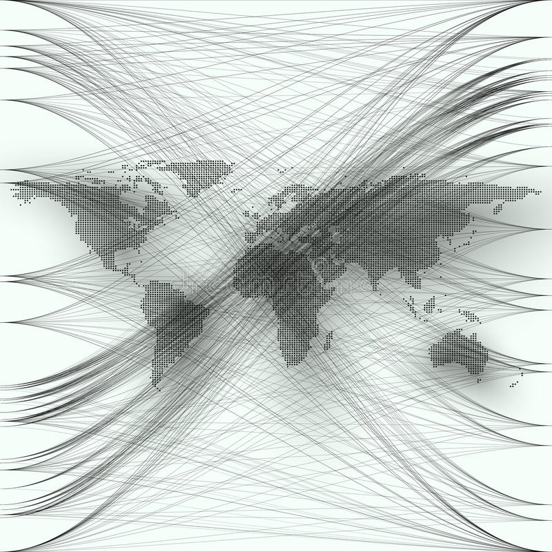 Black color dotted world map with abstract waves and lines on white background. Motion design. Gray chaotic, random vector illustration