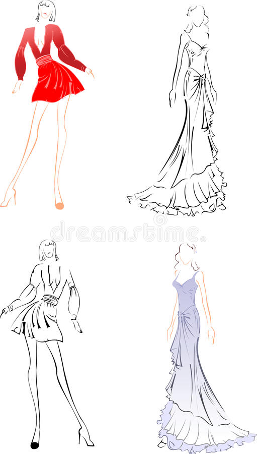 Black And Color Fashion Sketches. Black And Color Fashion Woman Sketches royalty free illustration