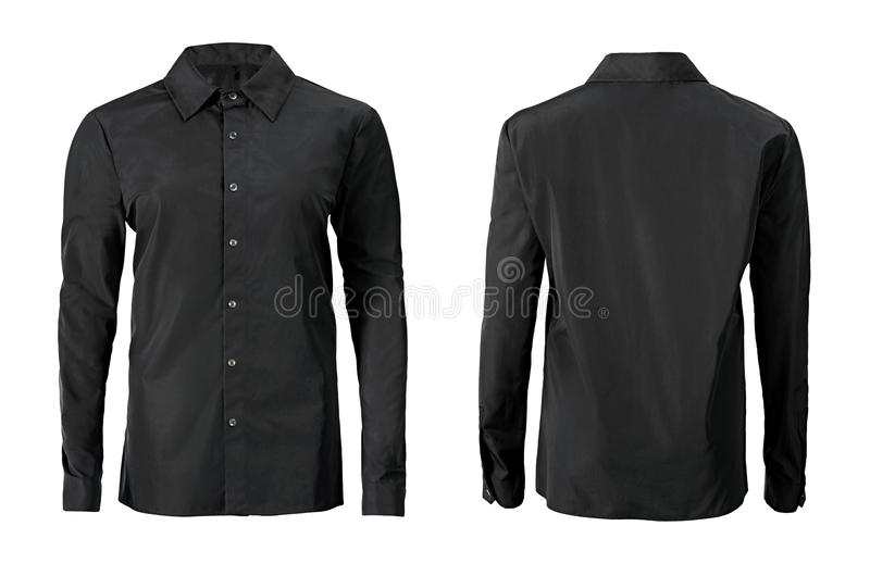 Black color formal shirt with button down collar isolated on white stock photos