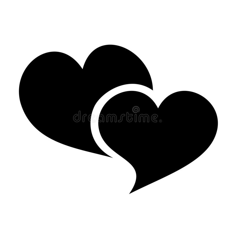 Black color hearts vector clipart. Hearts as a symbol of love. Valentine`s Day sign. Vector file available in SVG format stock illustration