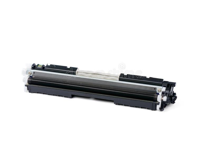 Black color Laser printer toner cartridge. Isolated on white royalty free stock photo