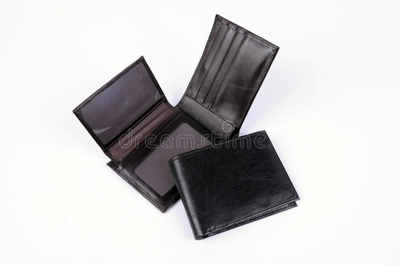 Black leather wallet isolated stock photos