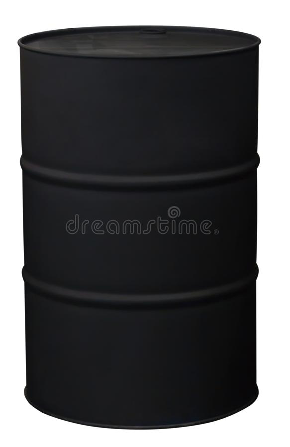 Black color metal oil barrel, isolated on white background. With clipping path royalty free stock photo