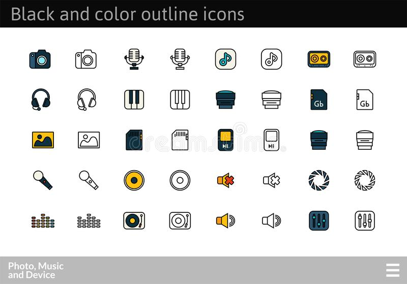 Black and color outline icons, thin stroke line style design. Black and color outline icons thin flat design, modern line stroke style, web and mobile design royalty free illustration