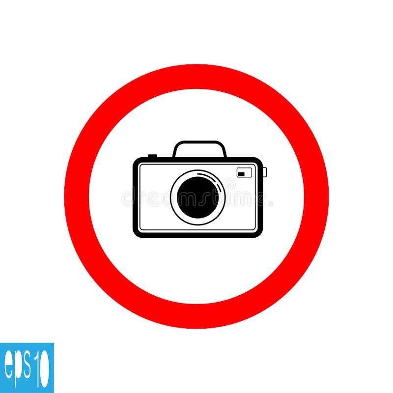 Black color photo camera icon , black thin line , inside red round - vector illustration royalty free illustration