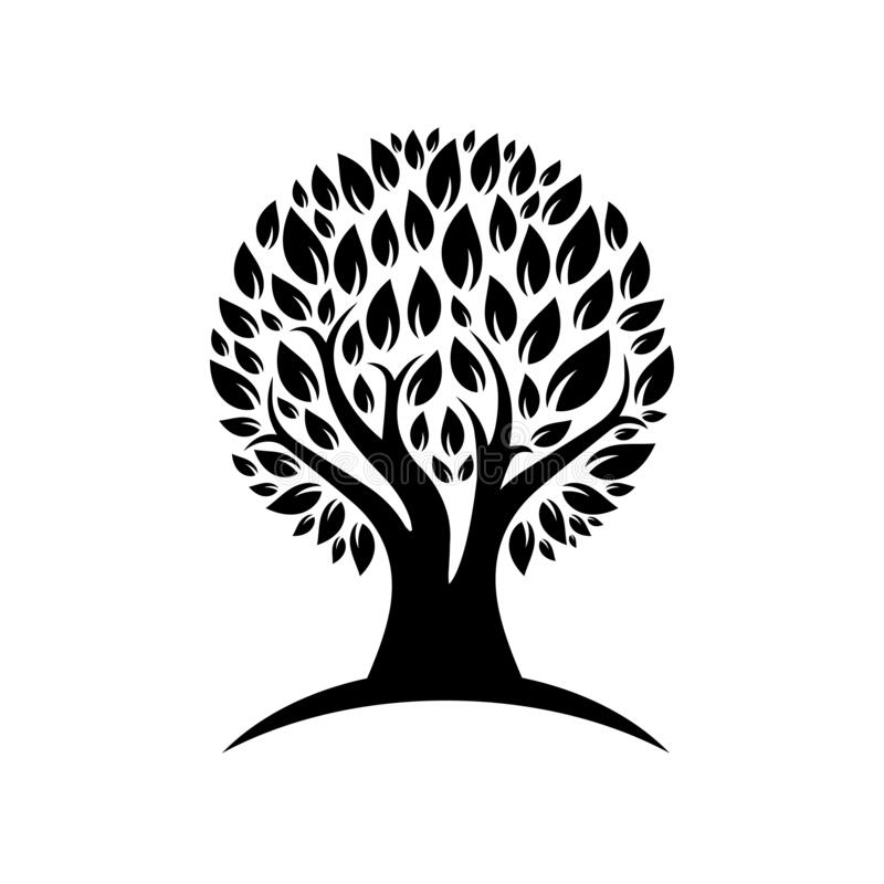 Free Black Color Tree Logo. Stock Images - 172969114