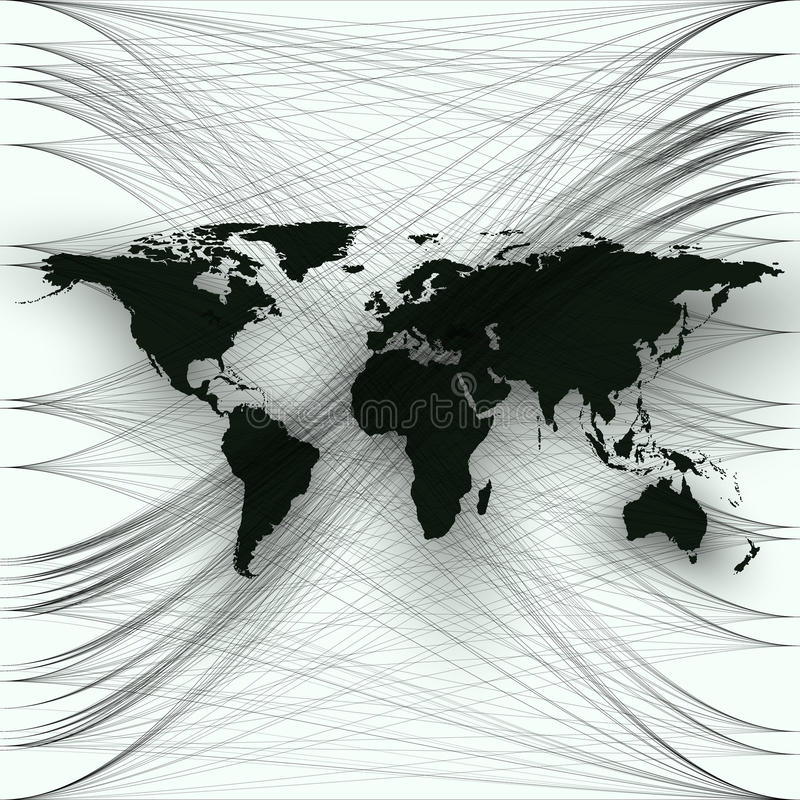 Black color world map with abstract waves and lines on white background. Motion design. Gray color chaotic, random, messy curves, swirl. Vector decoration royalty free illustration