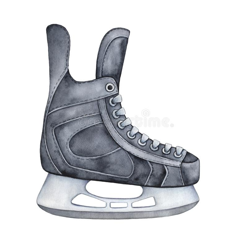 Black colored ice hockey skates with laces and metal blade. royalty free illustration