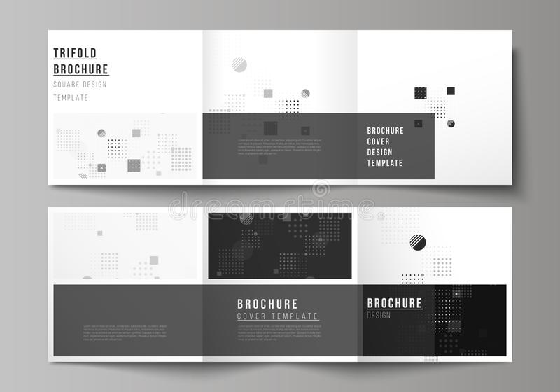 The black colored minimal vector illustration of editable layout. Modern creative covers design templates for trifold stock illustration