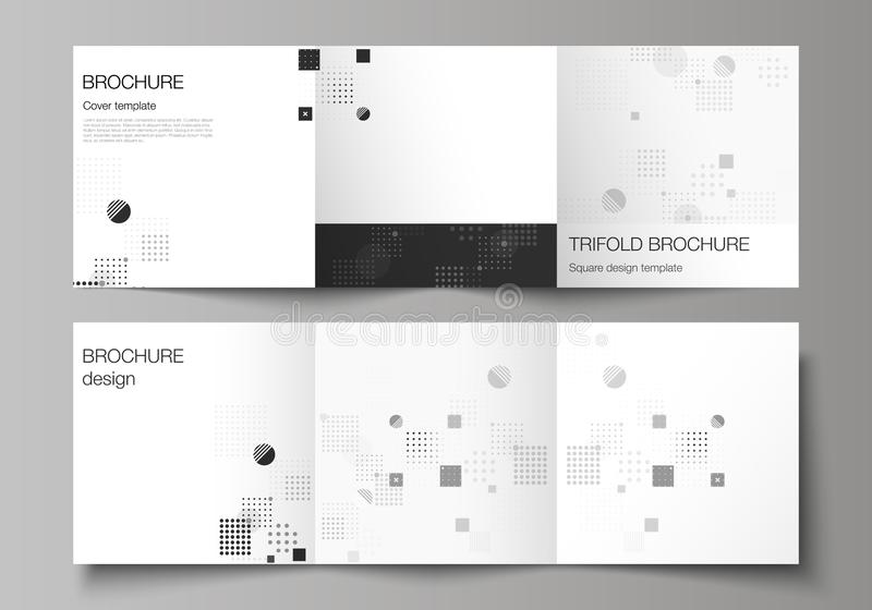 The black colored minimal vector illustration of editable layout. Modern creative covers design templates for trifold. Square brochure or flyer. Abstract vector stock illustration