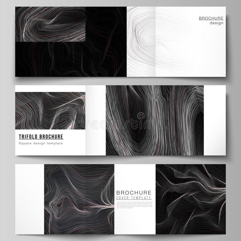 The black colored minimal vector illustration layout. Modern creative covers design templates for trifold square. Brochure or flyer. 3D grid surface, wavy royalty free illustration