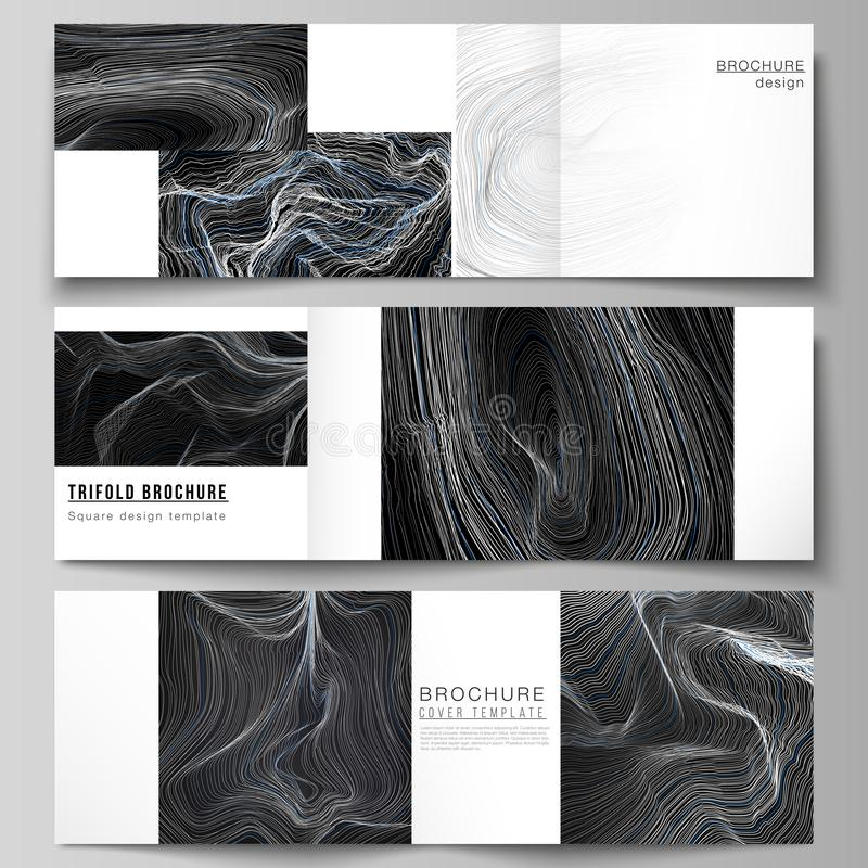 The black colored minimal vector illustration layout. Modern creative covers design templates for trifold square. Brochure or flyer. Smooth smoke wave, hi-tech stock illustration