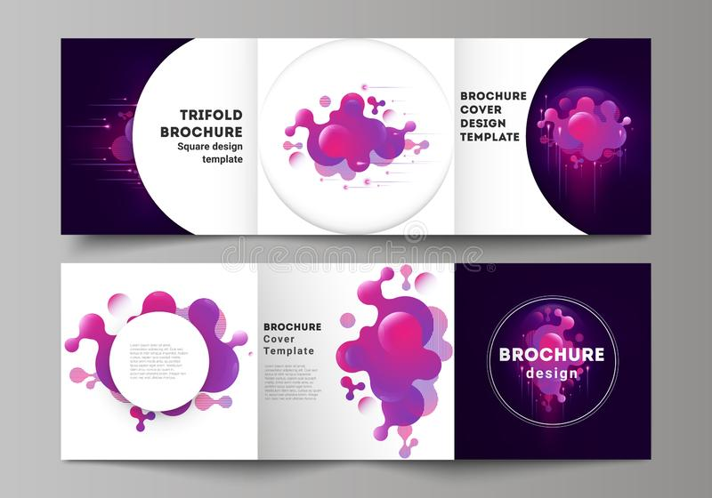 The black colored minimal vector layout. Modern creative covers design templates for trifold square brochure or flyer. Black background with fluid gradient royalty free illustration