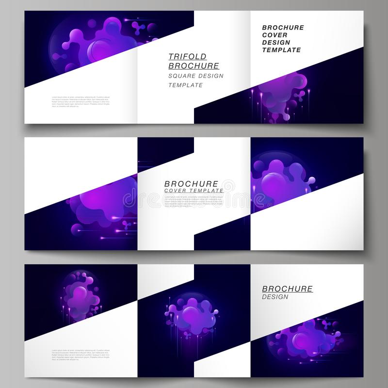 The black colored minimal vector layout. Modern creative covers design templates for trifold square brochure or flyer stock illustration