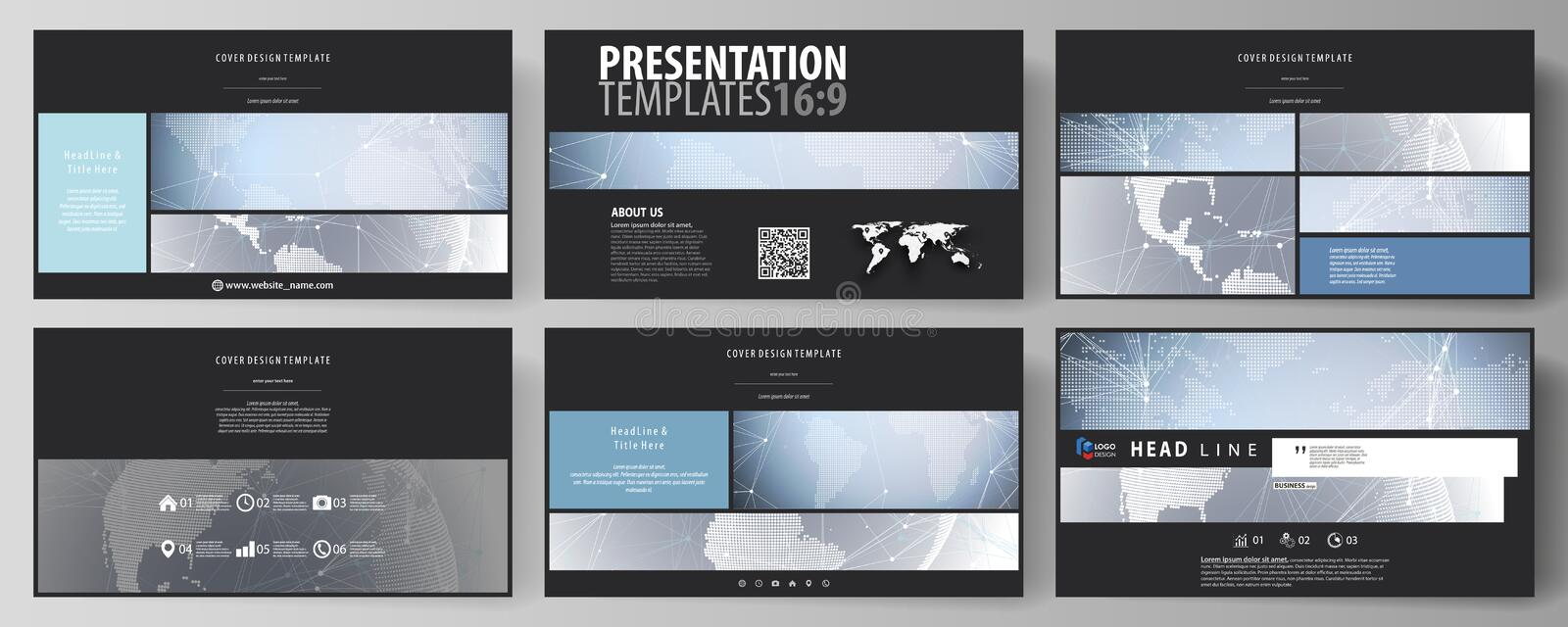 The black colored minimalistic vector illustration of the editable layout of high definition presentation slides design stock illustration