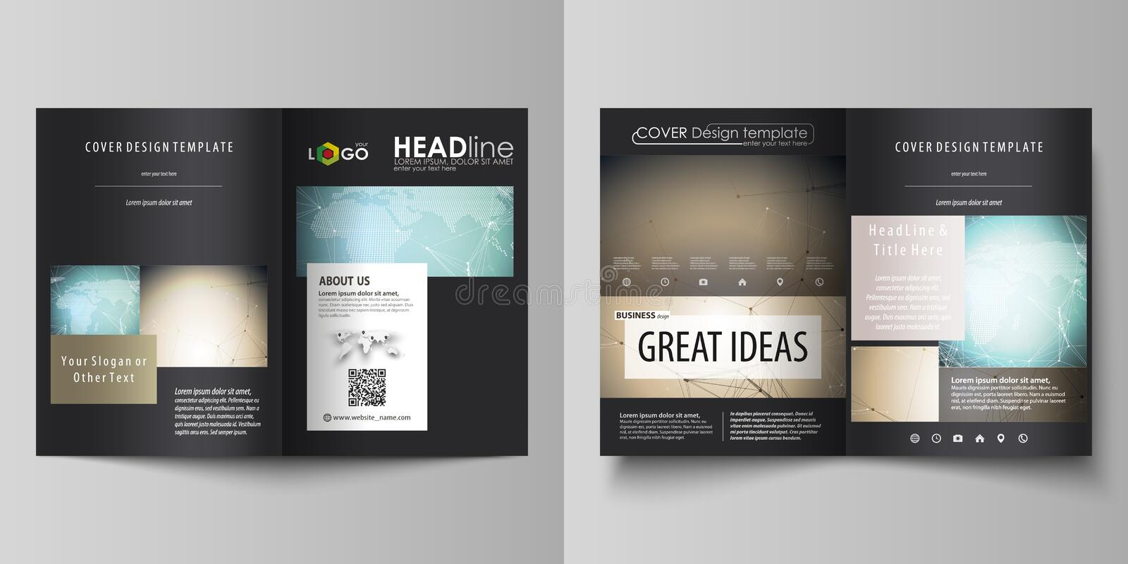 The black colored vector illustration of editable layout of two A4 format modern covers design templates for brochure royalty free illustration