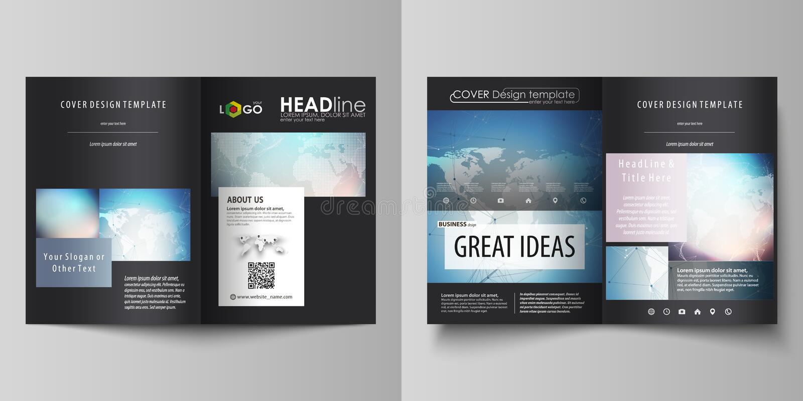Black colored vector illustration of editable layout of two A4 format modern covers design templates for brochure, flyer vector illustration
