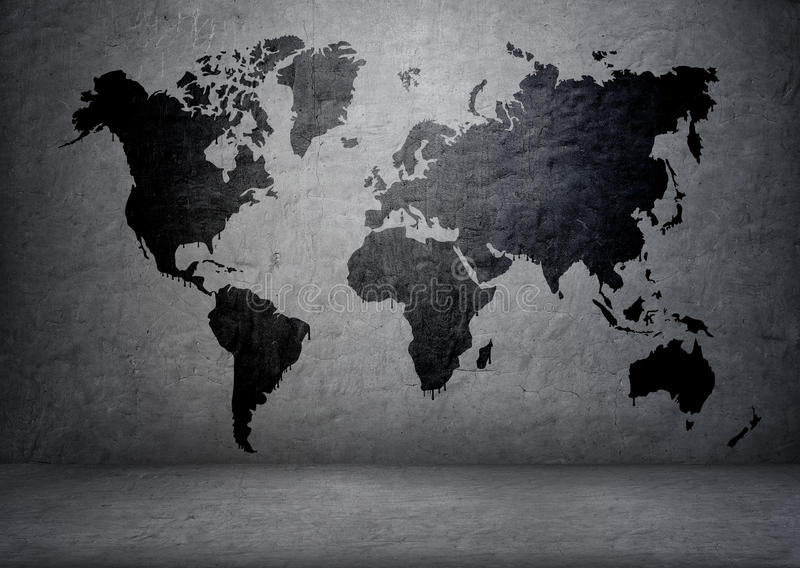 black colored world map on concrete wall continents and islands planet earth global communication geography and mapping