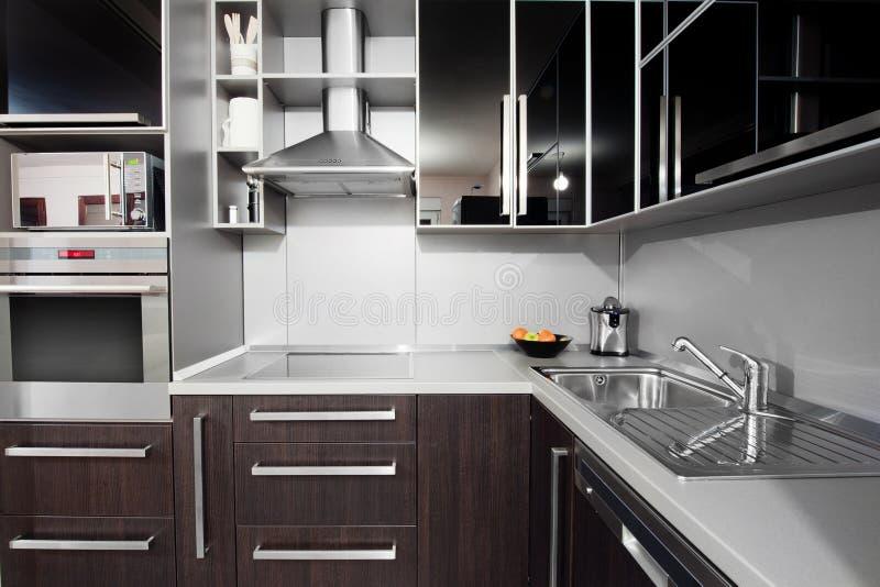 black colors modern wenge för kök royaltyfri fotografi