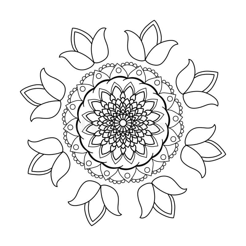 Black coloured floral spiral art royalty free illustration