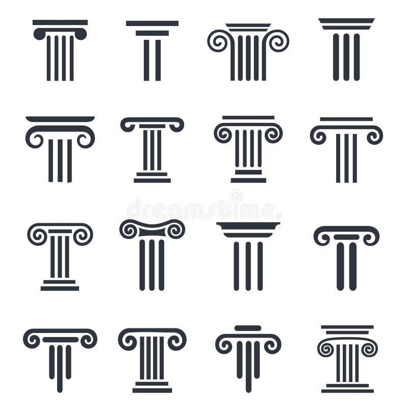 Black column icons. Ancient columns vector icon set. Vector black column icons set on white background stock illustration