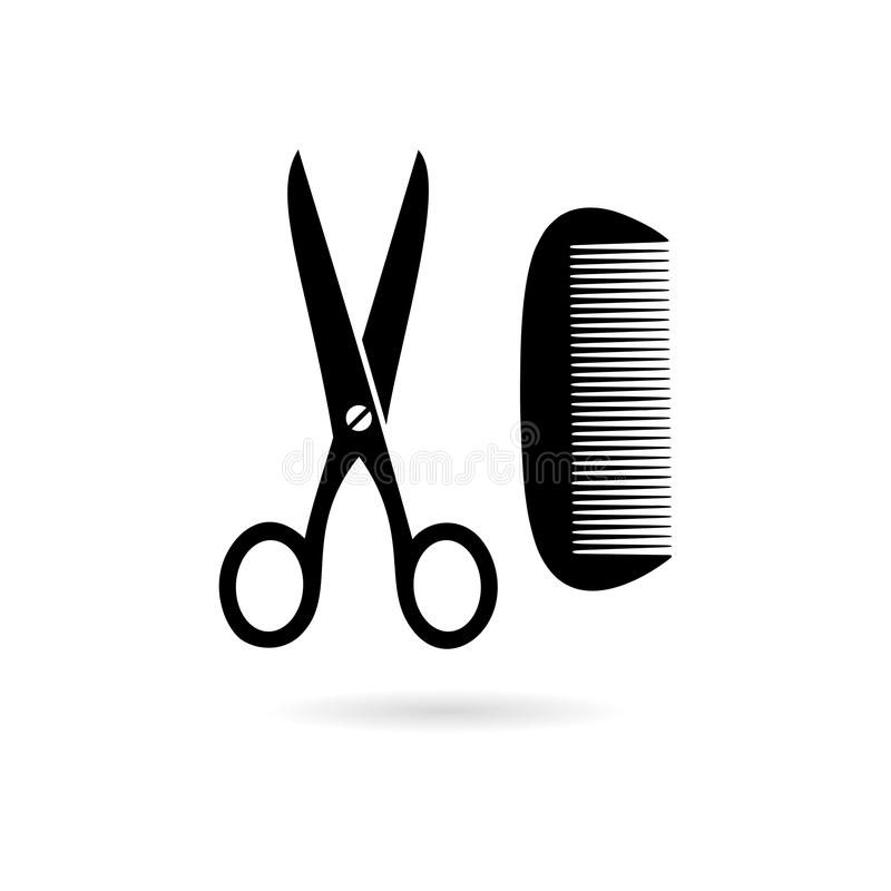 Black Comb and scissors icon or logo stock illustration