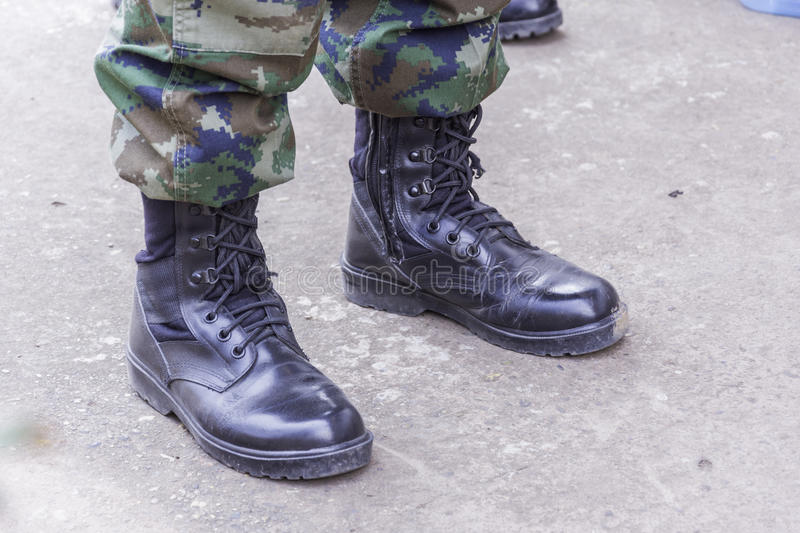 Black combat boots military royalty free stock images