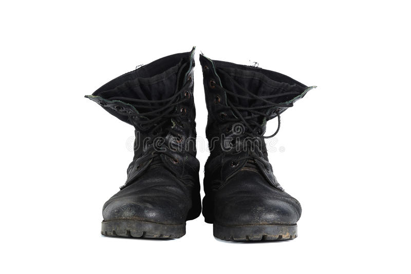 Black combat men boot, isolated on white background. Black combat men boot, black Military boots at Through use, isolated with soft shadow on white background royalty free stock images