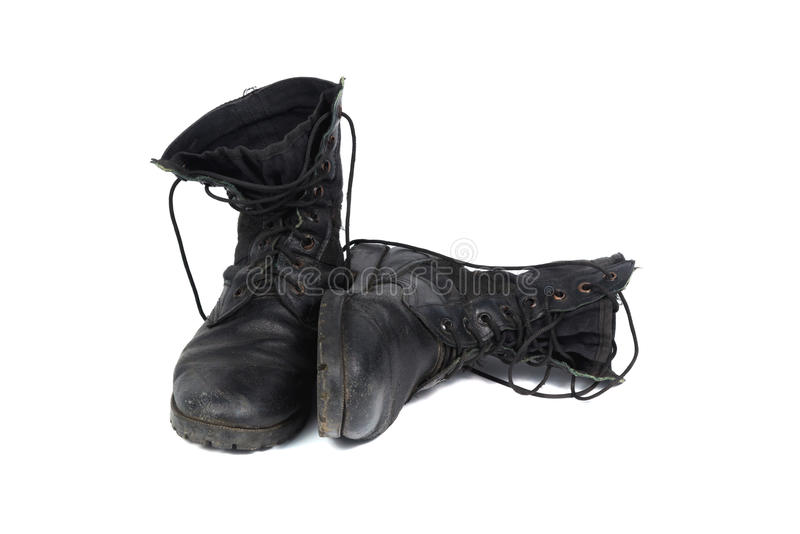 Black combat men boot, isolated on white background. Black combat men boot, black Military boots at Through use, isolated with soft shadow on white background royalty free stock image
