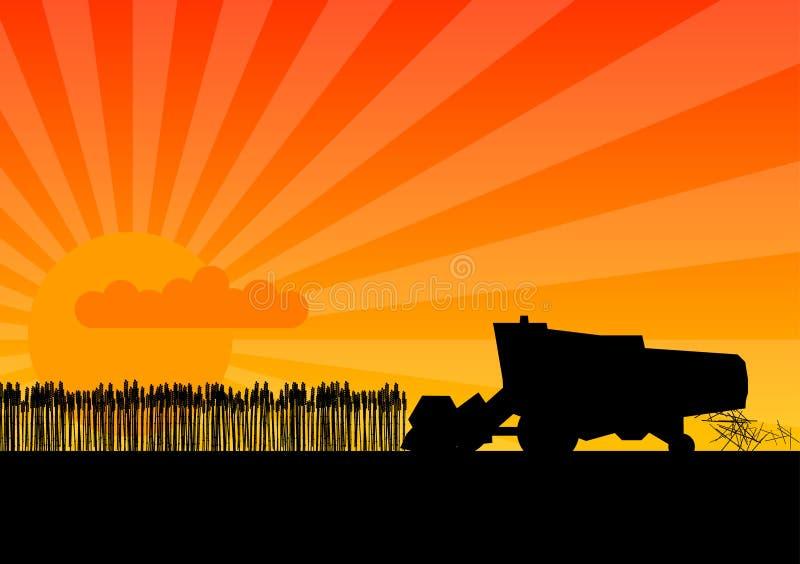 Black combine. Black silhouette of combine under the sunset stock illustration