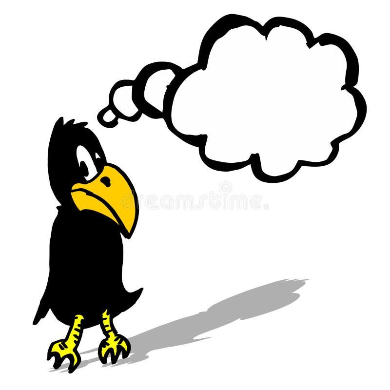 Black comic crow. Hand drawing creative black comic crow royalty free illustration